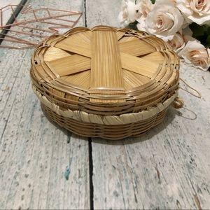 Storage basket lid bamboo small tan weave decor